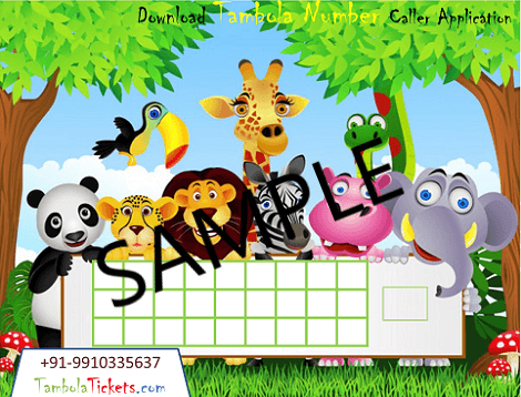 Purchase Animal, Cartoon Theme Tambola, Bingo, Housie Ticket