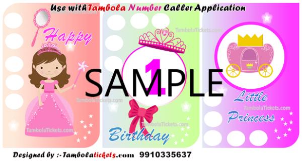 Purchase Baby Girl 1st Birthday Theme Tambola, Bingo, Housie Ticket